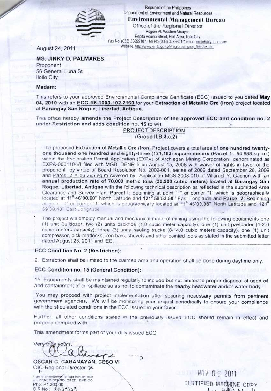 amendments to environmental compliance certificates