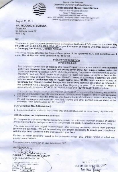 Amendments to Environmental Compliance Certificate