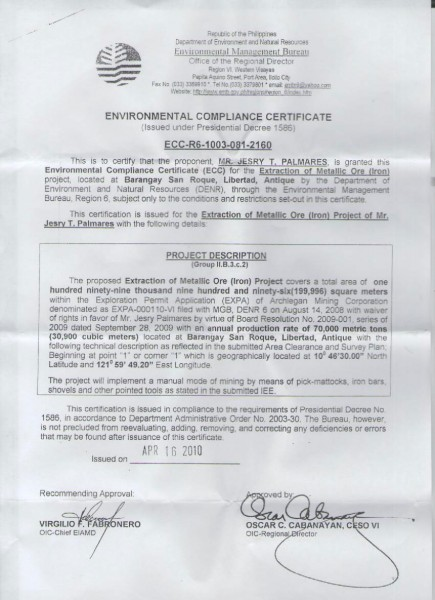 Environmental Compliance Certificate